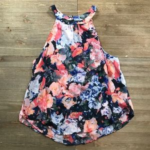ASTR The Label Floral Cut Out Tank Top